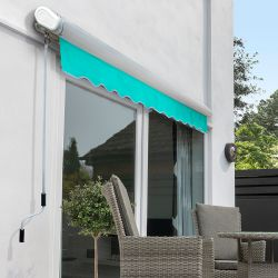 4.5m Full Cassette Manual Awning, Turquoise