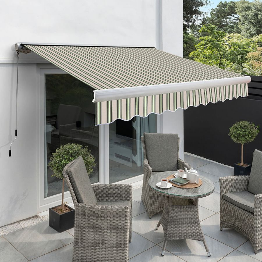 3.5m Full Cassette Manual Awning, Multi Stripe