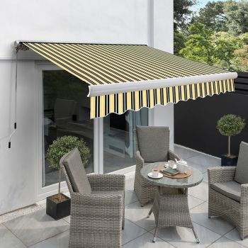 3.0m Full Cassette Manual Awning, Yellow and Grey Stripe