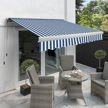 4.5m Full Cassette Electric Awning, Blue and white stripe