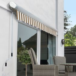 4.5m Full Cassette Manual Awning, Mocha Brown and White stripe