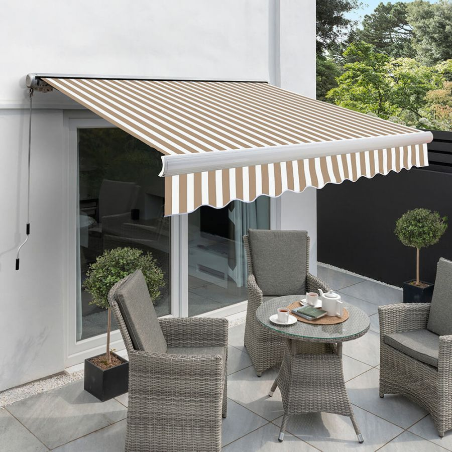 2.5m Full Cassette Manual Awning, Mocha Brown and White Stripe