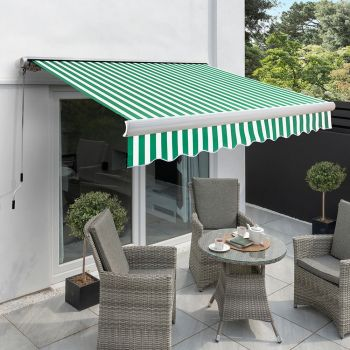 2.5m Full Cassette Manual Awning, Green and white stripe