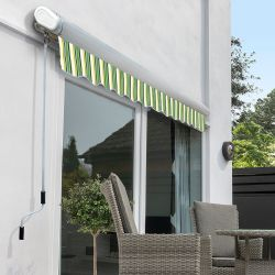 5.0m Full Cassette Manual Awning, Green Stripe Acrylic