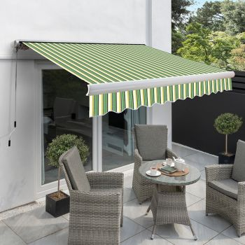 2.5m Full Cassette Manual Awning, Green Stripe Acrylic