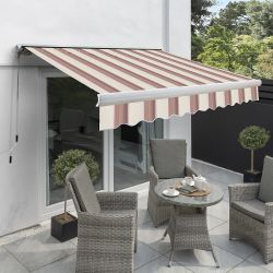 4.5m Full Cassette Electric Awning, Yellow Stripe Polyester