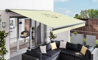 3.5m Full Cassette Manual Cafe Du Jardin Ivory Awning (Charcoal Cassette)