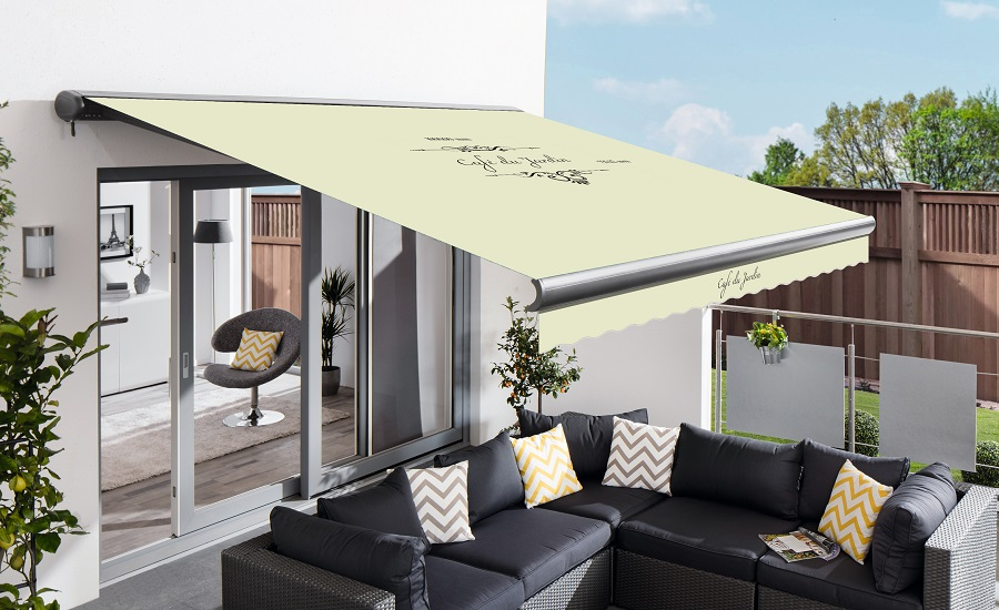 4m Full Cassette Manual Cafe Du Jardin Ivory Awning (Charcoal Cassette)