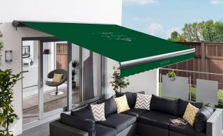 4m Full Cassette Manual Cafe Du Jardin Plain Green Awning (Charcoal Cassette)