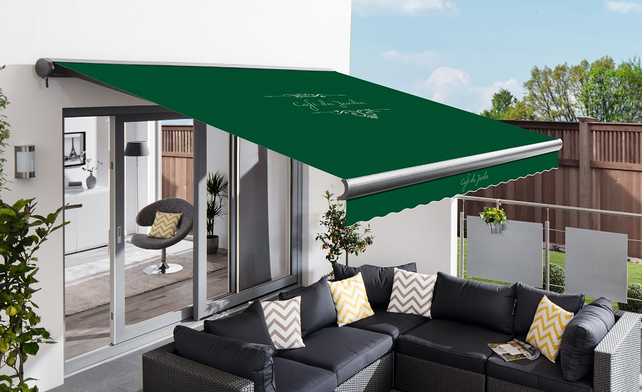 3.5m Full Cassette Manual Cafe Du Jardin Plain Green Awning (Charcoal Cassette)