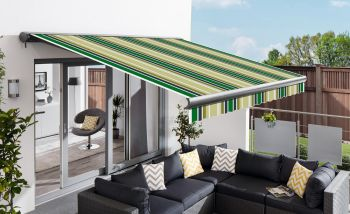 4.0m Full Cassette Electric Green Stripe Awning (Charcoal Cassette)