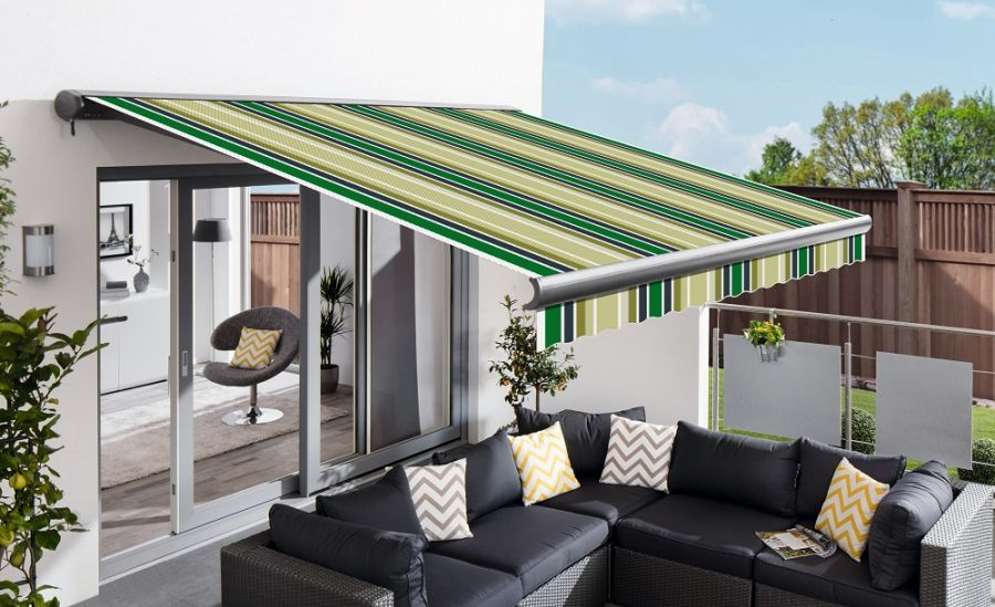 5.0m Full Cassette Electric Green Stripe Awning (Charcoal Cassette)