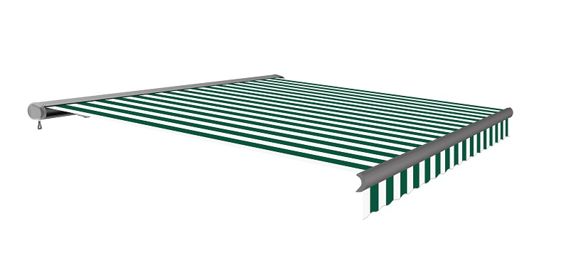 5.0m Full Cassette Electric Green and White Awning (Charcoal Cassette)