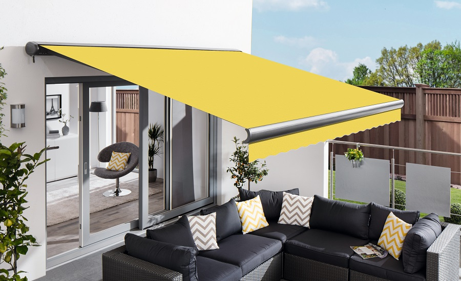 3.5m Full Cassette Manual Lemon Yellow Awning (Charcoal Cassette)