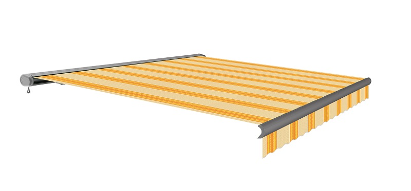 3.0m Full Cassette Electric Yellow Stripe Awning (Anthracite cassette)