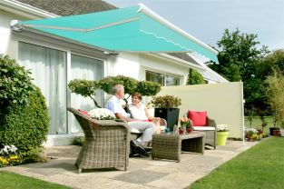 3.5m Full Cassette Manual Awning, Turquoise