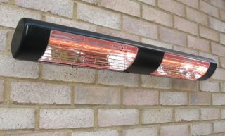 3kW IP55 Black Dual Wall Mounted Quartz Halogen Bulb Electric Infrared Patio Heater - Weatherproof IP55
