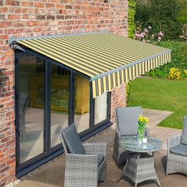 4m Half Cassette Electric Yellow and Grey Awning (Charcoal Cassette)