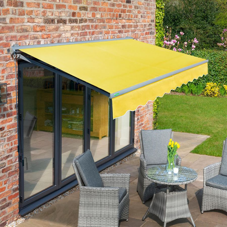 3.5m Half Cassette Manual Lemon Yellow Awning (Charcoal Cassette)