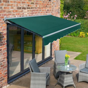 3.5m Half Cassette Manual Plain Green Awning (Charcoal Cassette)