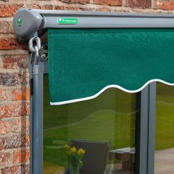 4m Half Cassette Electric Plain Green Awning (Charcoal Cassette)