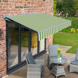 4m Half Cassette Electric Green Stripe Awning (Charcoal Cassette)