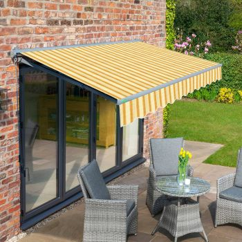 4m Half Cassette Electric Yellow Stripe Awning (Charcoal Cassette)