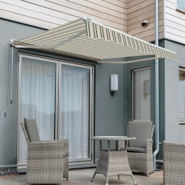 4.5m Half Cassette Electric Awning, Multi Stripe
