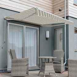 2.5m Half Cassette Electric Patio Awning, Multi Stripe