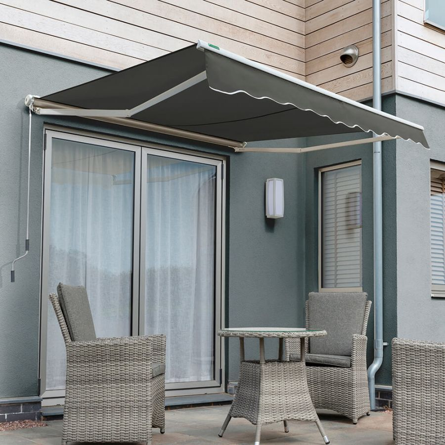 5.0m Half Cassette Electric Awning, Charcoal