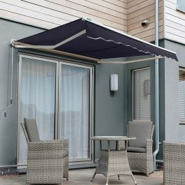 1.5m Half Cassette Electric Awning, Plain Dark Blue Polyester