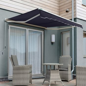 2.0m Half Cassette Manual Awning, Plain Dark Blue