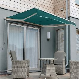 1.5m Half Cassette Electric Awning, Plain Green