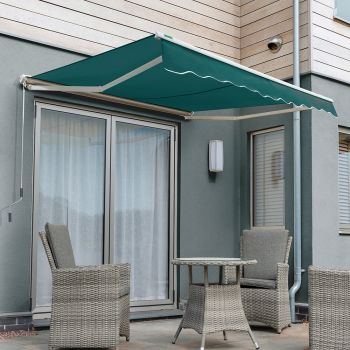 2.0m Half Cassette Electric Awning, Plain Green