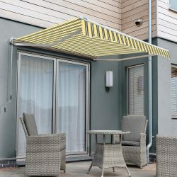 4.0m Half Cassette Electric Awning, Yellow and grey stripe