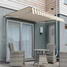 4.5m Half Cassette Electric Awning, Mocha Brown and white stripe