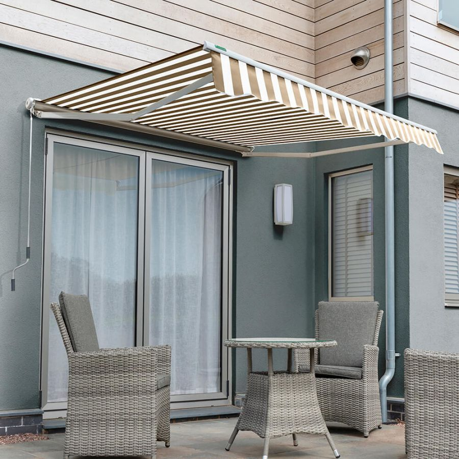 3.5m Half Cassette Electric Awning, Mocha Brown and White Stripe