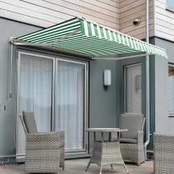 2.5m Half Cassette Manual Awning, Green and White Even Stripe