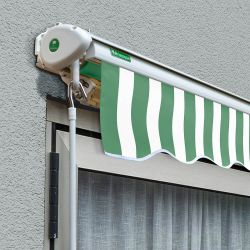 4.0m Half Cassette Manual Awning, Green and White Stripe