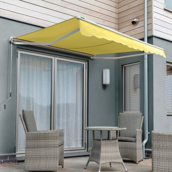 1.5m Half Cassette Manual Awning, Lemon Yellow