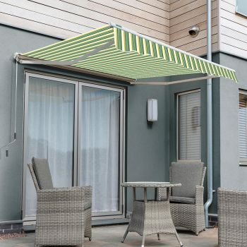 4.5m Half Cassette Manual Awning, Green Stripe