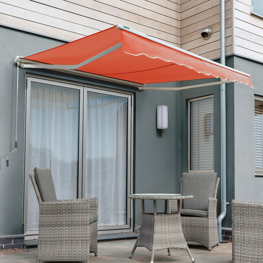 4.5m Half Cassette Manual Awning, Terracotta