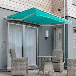 4.5m Half Cassette Manual Awning, Turquoise