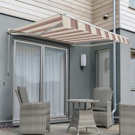 4.5m Half Cassette Electric Awning, Yellow Stripe Polyester
