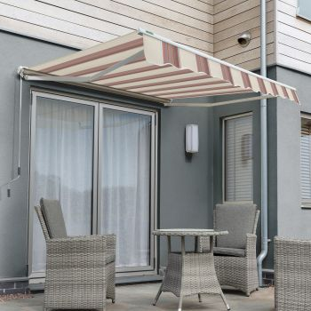 3.5m Half Cassette Manual Awning, Yellow Stripe Polyester