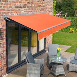 2.5m Half Cassette Manual Terracotta Awning (Charcoal Cassette)