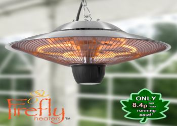 1.5kW Hanging Ceiling Halogen Bulb Electric Infrared Patio Heater With 2 Heat Settings by Firefly™
