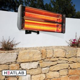 2kW IP55 Wall Mounted Halogen Bulb Electric with Cover Infrared Patio Heater by Heatlab®