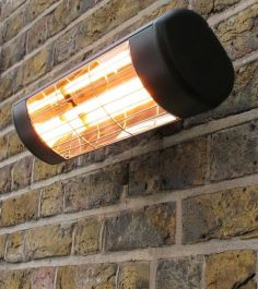 1.5kW Wall Mounted Quartz Halogen Bulb Electric Infrared Patio Heater - Weatherproof IP55 - Black Cassette