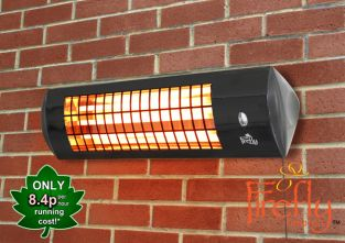 1.8kW IPX4 Wall Mounted Quartz Bulb Electric Infrared Heater with 3 Power Settings by Firefly™
